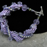 Purple Spiral beadwoven bracelet, radiant orchid, purple, with yellow highlight beads