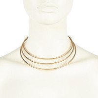 River Island Womens Gold tone triple torque necklace