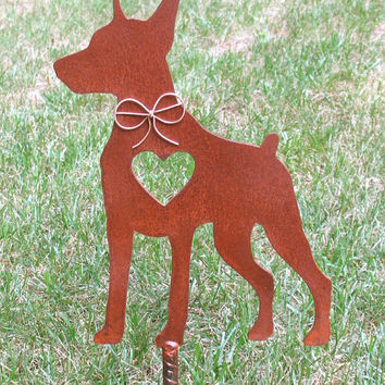 Doberman Pinscher Dog Metal Garden Stake - Metal Yard Art - Metal Garden Art - Pet Memorial 2