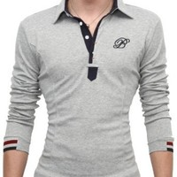 Doublju Mens Jersey Polo with Contrast Placket GRAY (US-L)