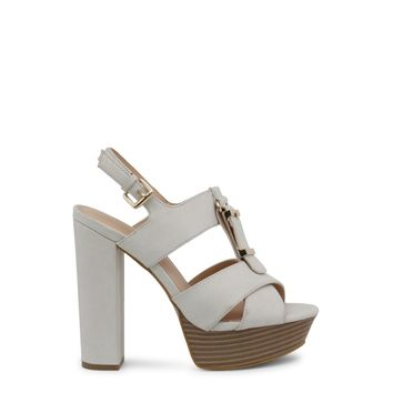 Blu Byblos White Ankle Strap Leather Heel Sandals