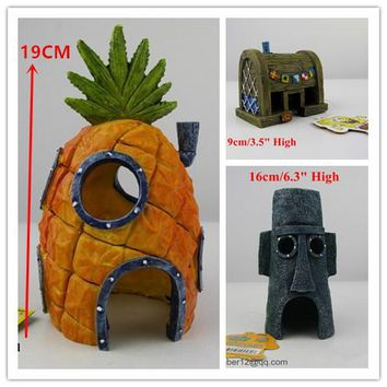 3 Pcs Large Real SpongeBob Aquarium Decoration Fish Tank Resin Ornament Pineapple House &Squidward Easter Island &Krusty Krab