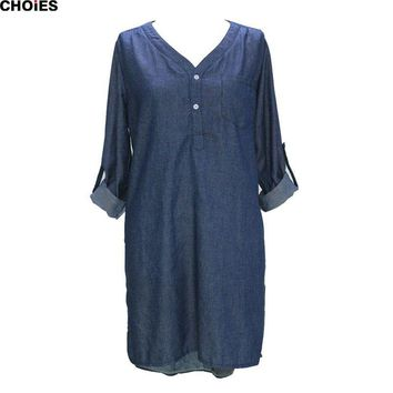 Blue V Neck Roll up Long Sleeve Side Split High Low Dipped Hem Denim Mini Shift Dress Spring Street Wear Casual Clothing
