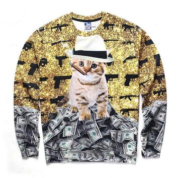 Cat Smoking With Gun And Dollars All Over Print Hoodies - Ugly Cat Sweater