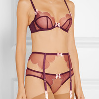Agent Provocateur - Lorna scalloped embroidered tulle briefs