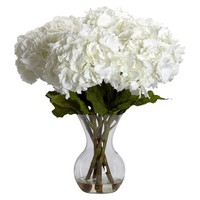 Nearly Natural Large Hydrangea w/Vase Silk Flower Arrangement
