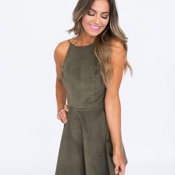 Olive Suede Fit & Flare Dress