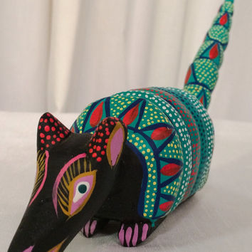 Unique unusual RARE Vintage Colorful Folk Art Animal Wooden Hand Painted Carved Wood Oaxacan Mexican ARTIST Signed Sculpture Armadillo SALE