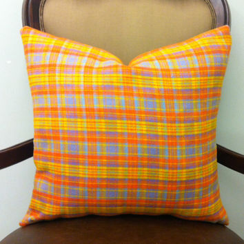 Wool Pillow Cover, Yellow Plaid Wool Pillow, Orange Plaid Wool Pillow, Wool Throw Pillow, Decorative Orange Plaid Wool Cushion Pillow Covers