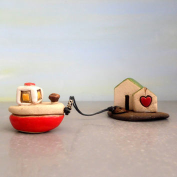 Art & Collectibles , ceramic sculpture desk accessory , miniature art sculpture , miniature boat , home decor , office decor , little houses