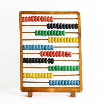 Large Vintage Abacus with Wooden Beads - Mid Century Modern Nursery
