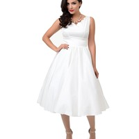 1950s Style Ivory Cotton Sateen Scallop Brenda Swing Dress