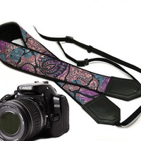 Camera Strap. Silvery Purple, blue, black Camera Strap. Camera accessories. Photgrapfer gift. Violet.
