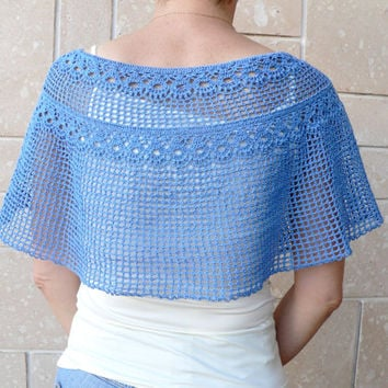 Hand Crochet Blue Poncho Top Shawl Cotton Light Scarf Wraps Cover Up Shrug Cape on Shoulders Shawl Wrap Shrug Crochet Poncho Sweater Lace