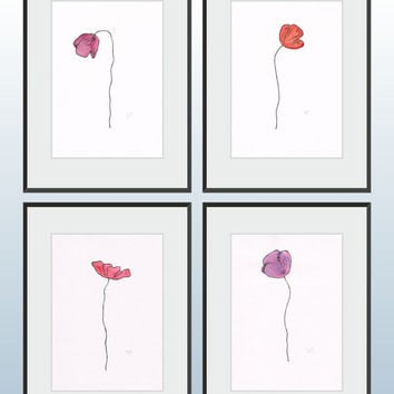 Purple flower illustration. Single poppy drawing. Original floral art. Watercolor and ink picture.
