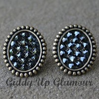 Pink Panache Mini Bronze Oval Stud Earrings with Black Crystals