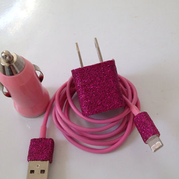 Customized Glitter IPHNOE 5 Charger  In different colors glitter & 3 in 1 Charger