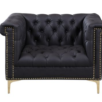 Winston PU Leather Modern Contemporary Button Tufted with Gold Nailhead Trim Goldtone Metal Y-leg Club Chair, Black