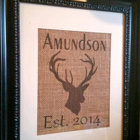 Deer, burlap, hunting, country print, lastname, custom, personalized