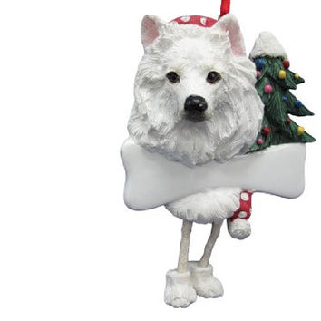 "American Eskimo Ornament with Unique ""Dangling Legs"" Hand Painted and Easily Personalized Christmas Ornament"