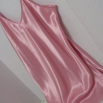 Rose Pink Liquid Satin Chemise Short Nightgown Bridal Honeymoon