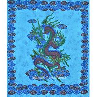 Blue Chinese Dragon Tapestry, Tie Dye Tapestry Wall Hanging Bedding on RoyalFurnish.com