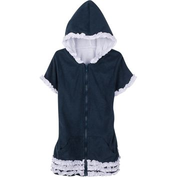"""Baby Girl 0-3 Month Swimsuit Cover Up Robe with UPF 50+ UV Sun Protection - """"Ahoy"""""""
