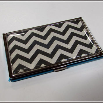 Business Card Holder Case Wallet Black White Chevron