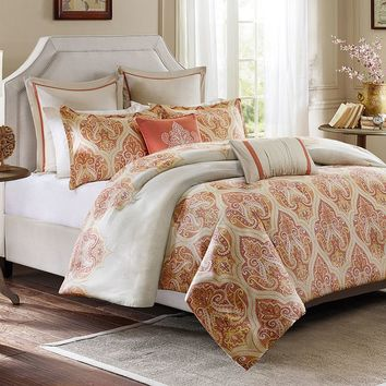 HH Kalia 3-pc. 300-Thread Count Sateen Reversible Duvet Cover Set (Orange)