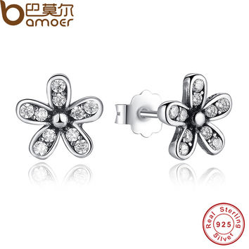 2016 New Arrival Authentic 925 Sterling Silver Dazzling Daisy Stud Earrings With Clear CZ Jewelry Special Store PAS403