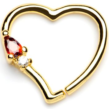 "16 Gauge 3/8"" Red Gem Gold Tone Heart Daith Cartilage Tragus Earring"