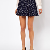 ASOS Petite | ASOS PETITE Exclusive Skater Skirt In Swallow Print at ASOS