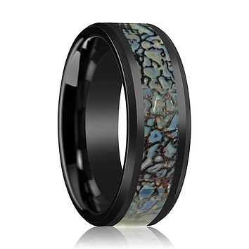 AJAX Black Ceramic Couple Wedding Band Blue Dinosaur Bone Inlay Polished Finish