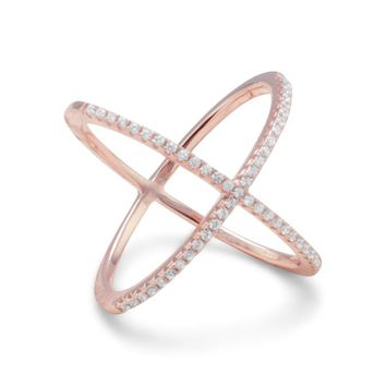 18k Rose Gold Plated Sterling Silver Criss Cross 'X' Ring