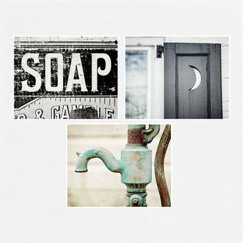 Bathroom Decor Set of 3 Bath Photographs, Rustic Bathroom Decor, Vintage Shabby Chic Bathroom Art, 5x7 8x10 11x14.