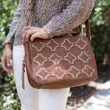 Voyager Fold Over Handbag in Cognac