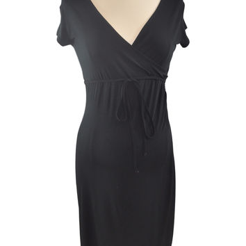 Black Short Sleeve Wrap Dress by Liz Lange