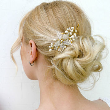 Floral Wedding Hair Comb,gold leaf hair comb,Bridal Headpiece , pearl hair comb, Wedding Hair Accessories