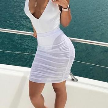 Casual White Patchwork Grenadine Backless Bodycon Club Mini Dress