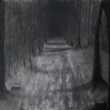Pencil and charcoal drawing dark forest drawing on archival paper horror fine art