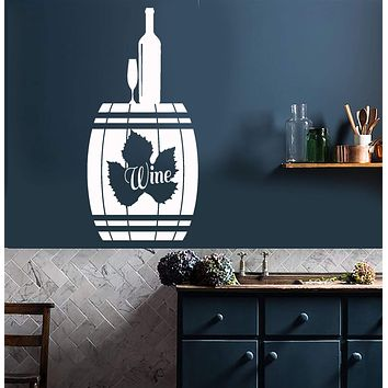 Vinyl Wall Decal Alcohol Cask Bottle Wine Grape Leaf Stickers Unique Gift (737ig)