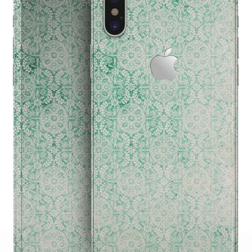 Micro Faded Green Damask Pattern - iPhone X Skin-Kit