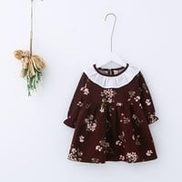 High Quality Cotton Floral Toddler Baby Kids Girls Dress Autumn Flower Party Dress Clothes New Arriving