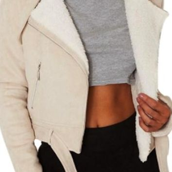 Lay It On Me Khaki Faux Suede Faux Fur Trim Long Sleeve Asymmetric Motorcycle Jacket