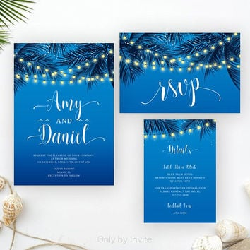 Tropical beach wedding invites | String lights wedding invitations printed | Palm tree wedding invitations | Destination wedding