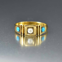 Victorian 18K Gold Pearl Turquoise Ring Band C. 1880s