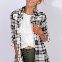 Plaid Button-Up Top Charcoal/Ivory