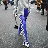 Women Casual Side Stripe Zip Split Wide Leg Pants Sweatpants Leisure Pants Trousers