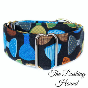 Bow Tie Dog Collar, Blue Martingale Dog Collar, Masculine Dog Collar, Whippet Collar, Greyhound Collar, Wide Great Dane, Italian Greyhound