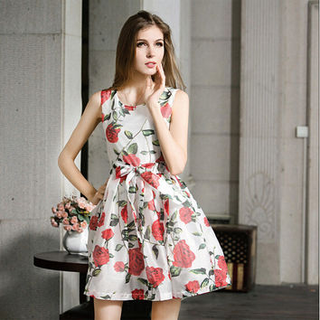White Floral Print Sleeveless Tie-Waisted Dress